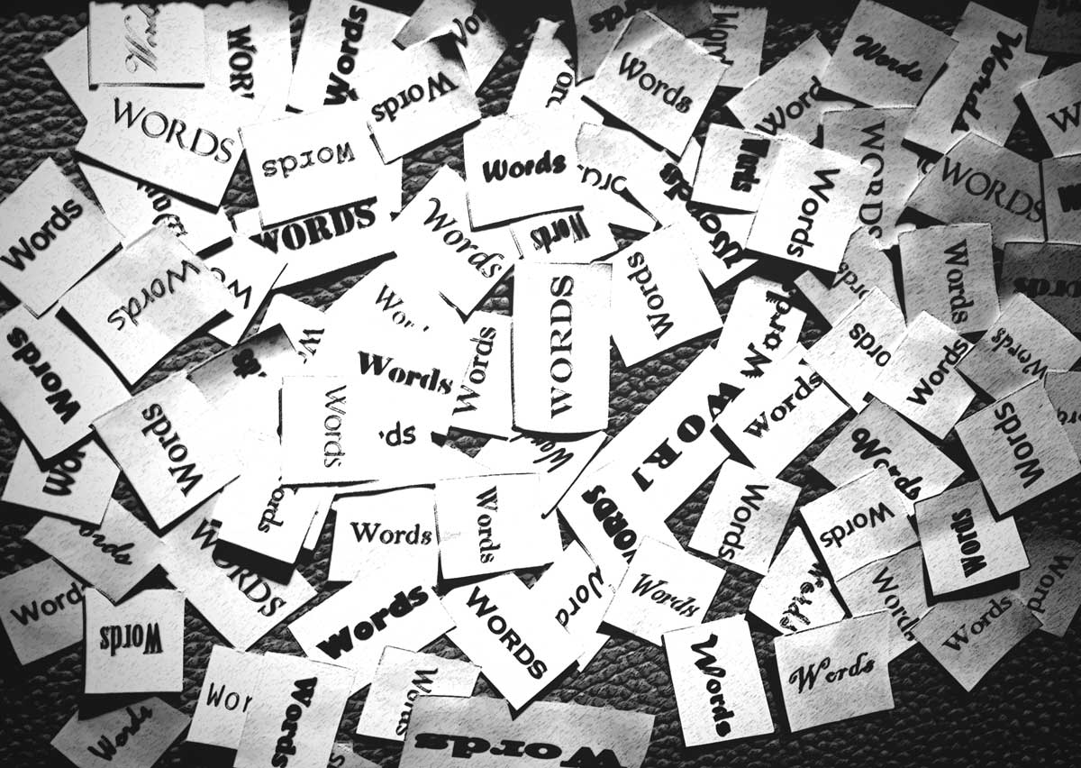 Photograph of a jumble of words in different fonts