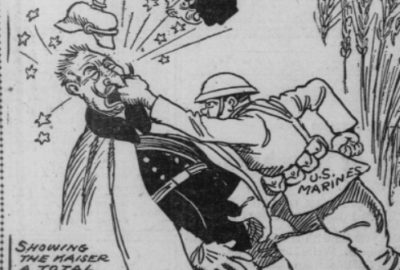 "Cartoon showing a US Marine punching the Kaiser and ""showing him a total eclipse"" from the Oregonian, June 1918"