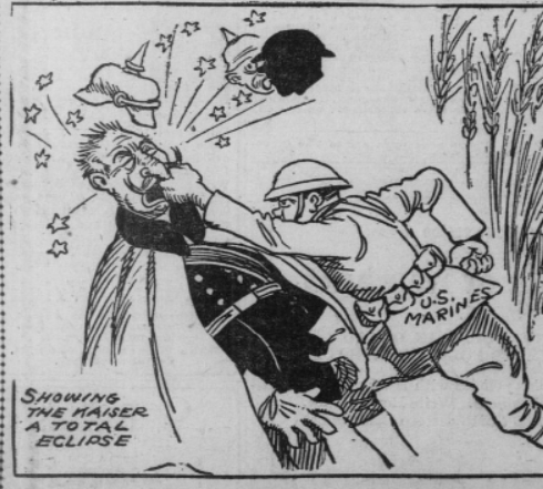 Cartoon showing a US Marine punching the Kaiser and