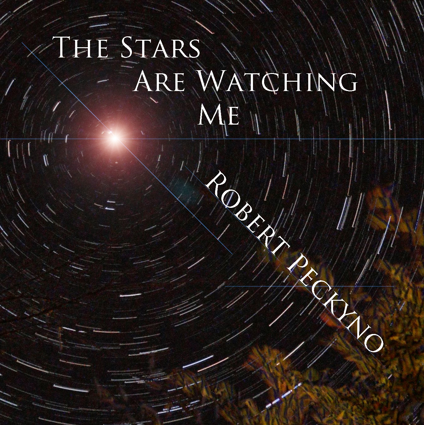 Image of the night sky stars making trails around the North Pole with the words The Stars Are Watching Me / Robert Peckyno