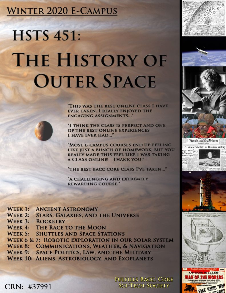 Flyer for HSTS 451 - the history of outer space showing Jupiter and its' moon Io