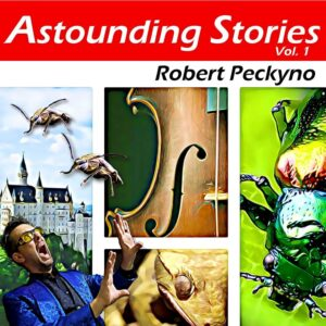 Astounding Stories cover art showing a beetle, a salamander, a violin, a castle, and me screaming and running away from attacking giant beetles...