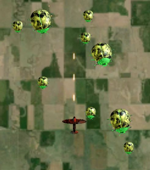 Screenshot from the Beetle Horde Unity Mini-Game showing an orange and black plane flying over Kansas shooting at a swarm of giant yellow and green beetles.