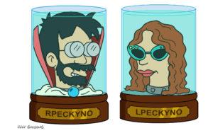 Bob and Laura Peckyno as Futurama heads