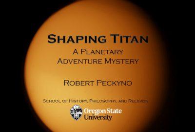Image of Titan taken from Voyager (orange featureless sphere)