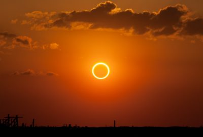 Image of an Annular eclipse showing the Sun covered with the Moon but leaving a 'ring of fire' visible