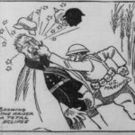 """Cartoon showing a US Marine punching the Kaiser and """"showing him a total eclipse"""" from the Oregonian, June 1918"""