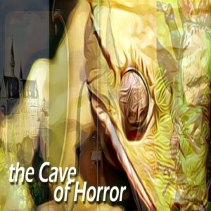 the Cave of Horror cover showing a menacing lizard