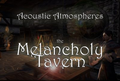image of a tavern with a minstrel playing near an fire